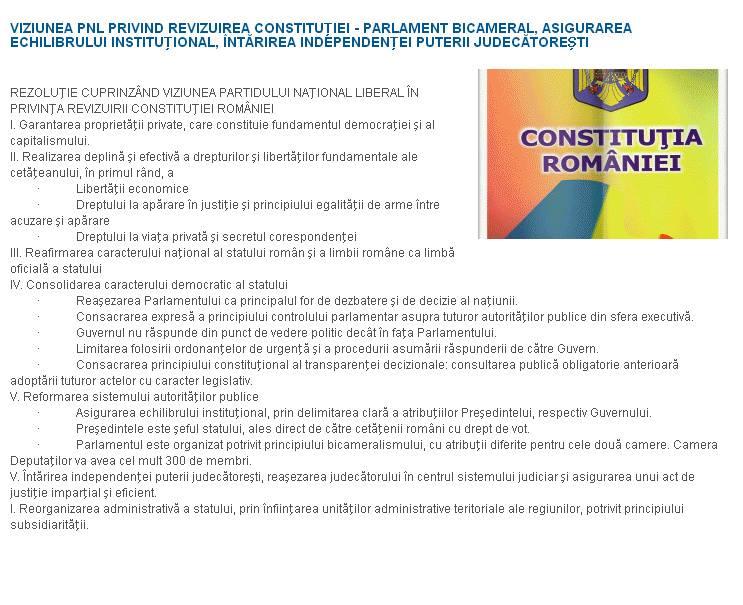 viziunea PNL privind revizuirea constitutiei presedintele este seful statului